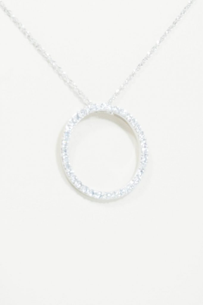 14k White Gold Circle Pendant