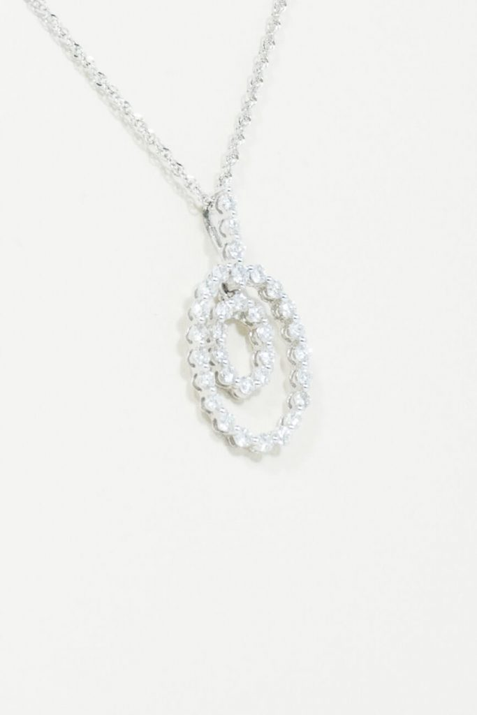 "14k White Gold ""Double Halo"" Diamond Pendant"