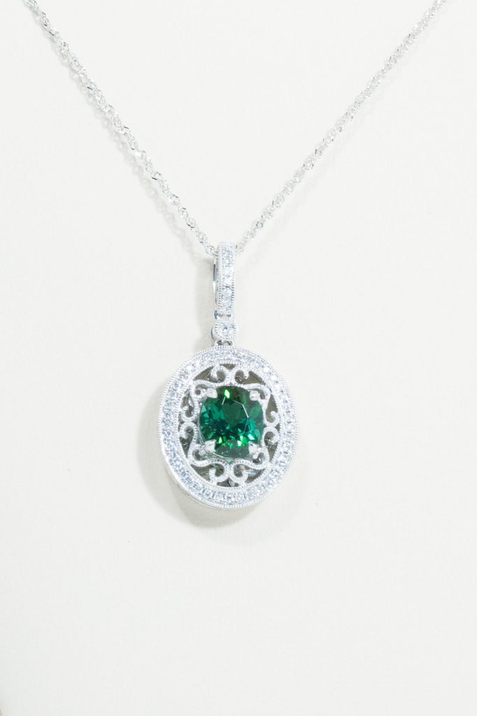14k White Gold Green Tourmaline & Diamond Pendant