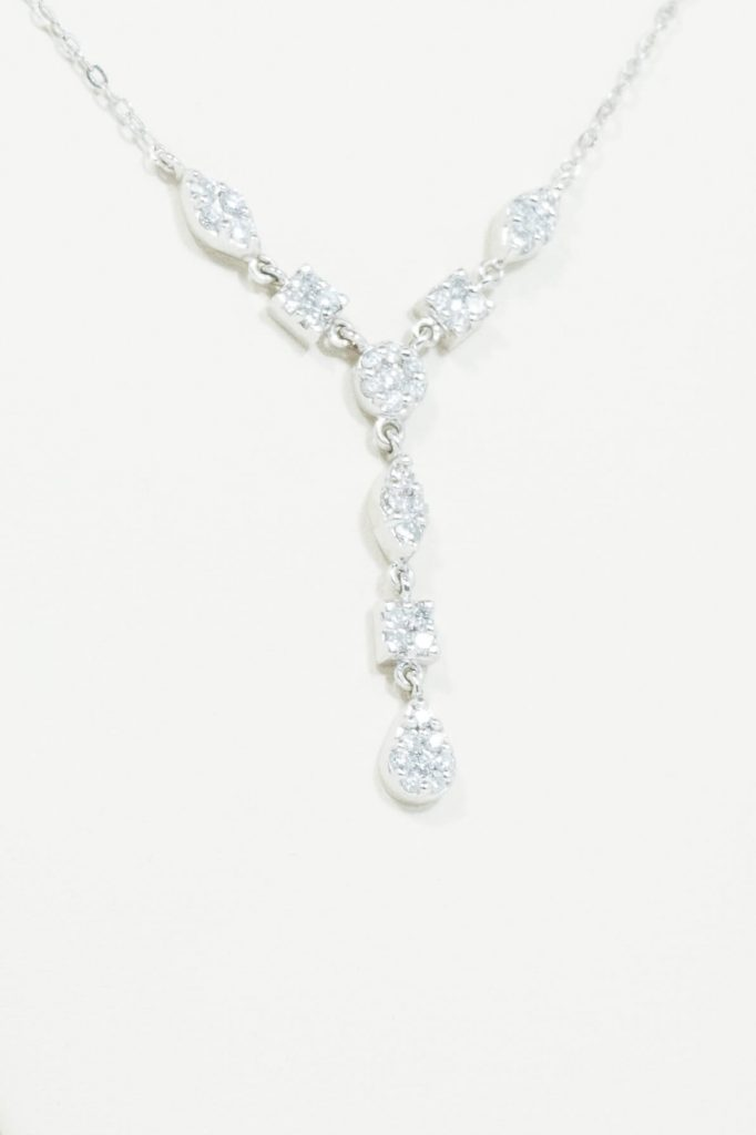"14k White Gold Diamond ""Lariat"" Necklace"