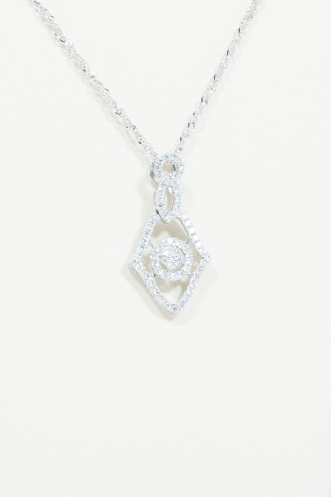 14k White Gold Gemoteric Necklace