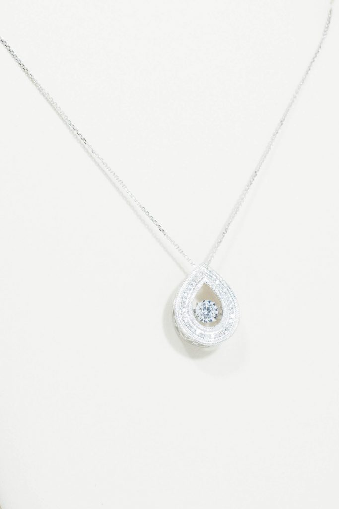14k White Gold Dancing Diamond Pendant
