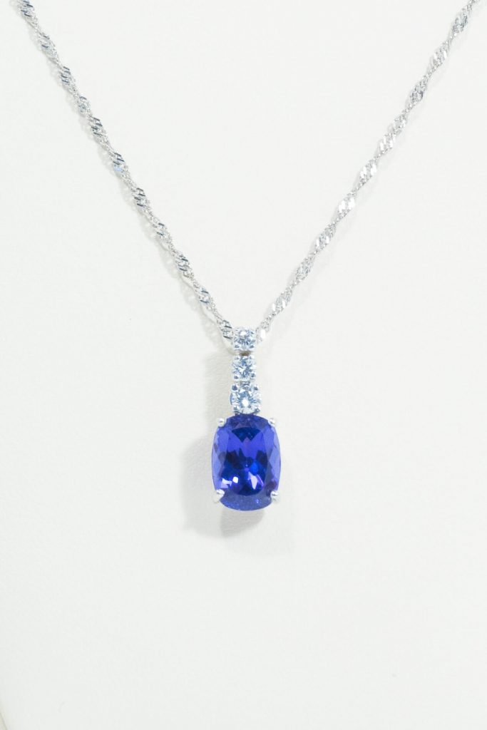 Elongated Cushion Cut Tanzanite & Diamond Pendant
