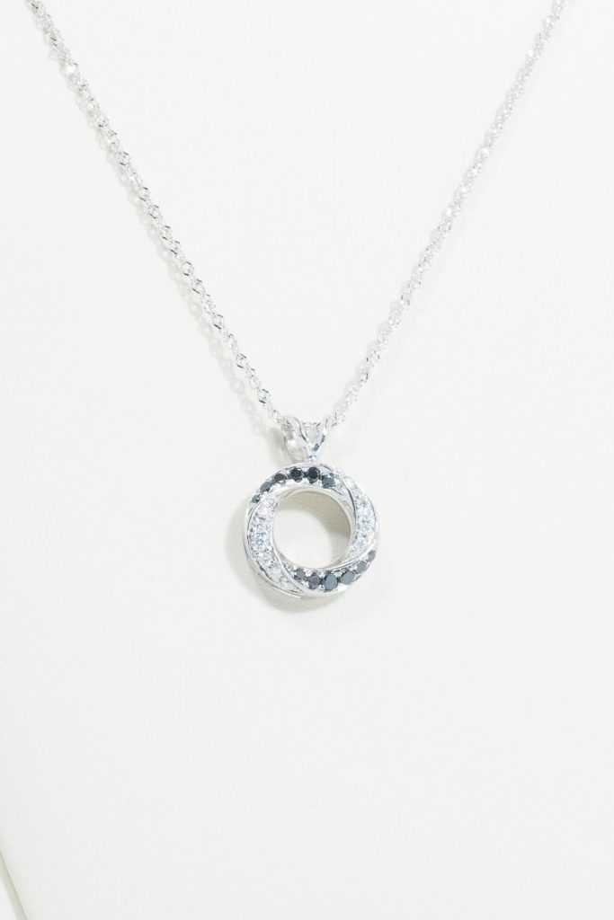 14k White Gold Black & White Diamond Pendant