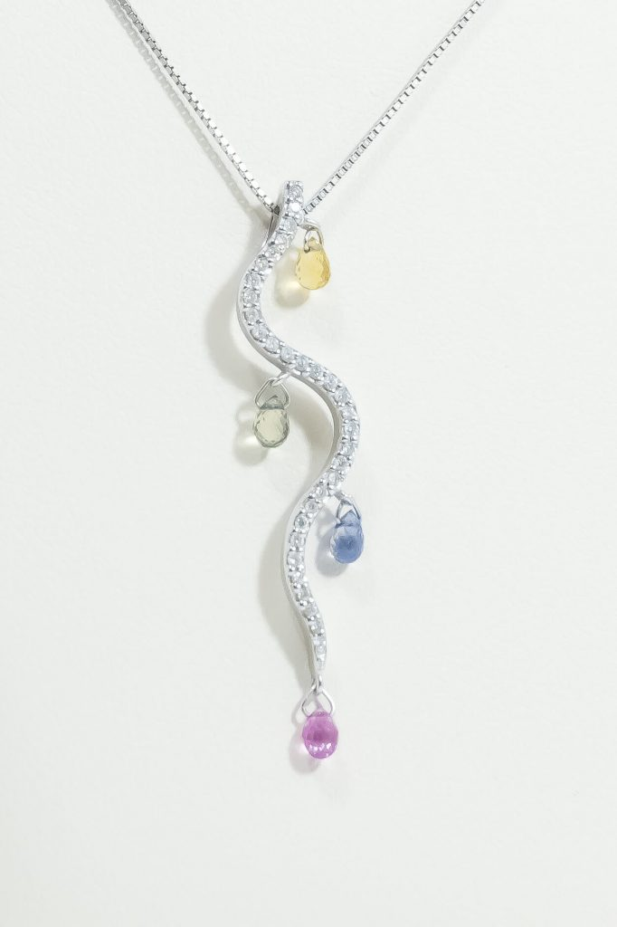 14k White Gold Multi Color Necklace