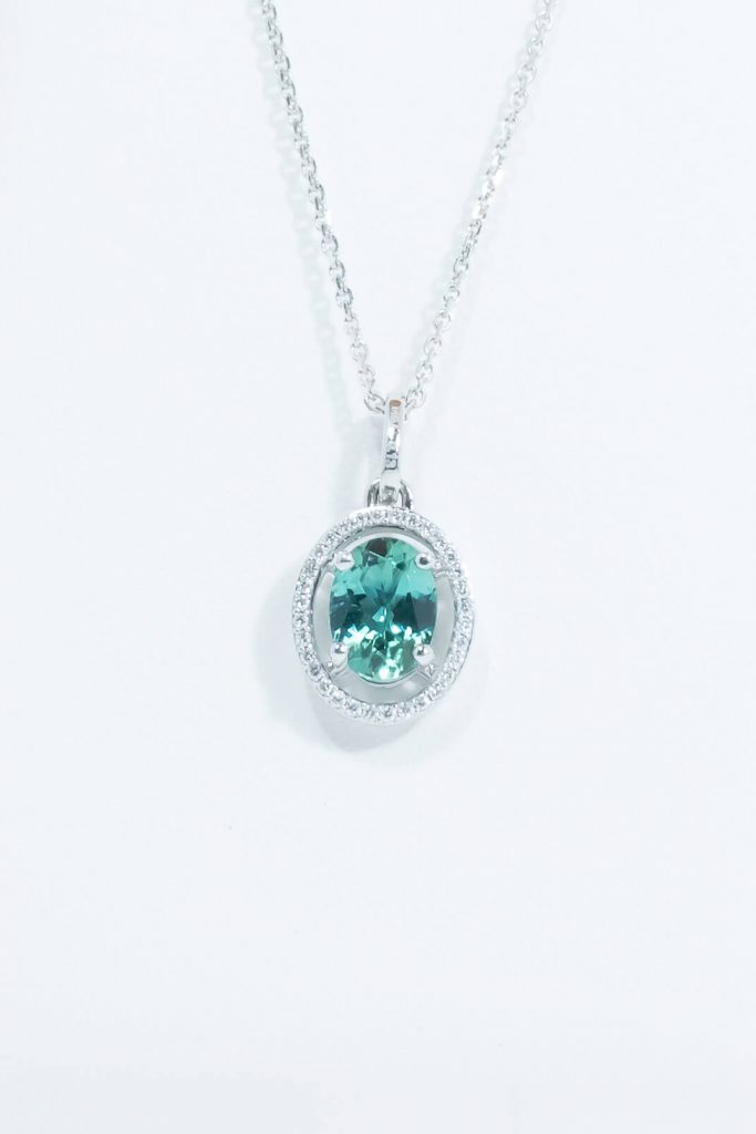 14k White Gold Indocolite Tourmaline Pendant