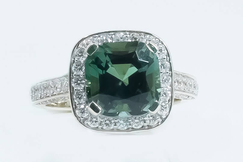 14k White Gold Tourmaline & Diamond Ring