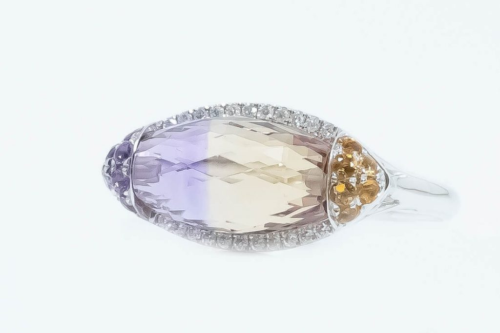 14k White Gold Ametrine & Diamond Ring