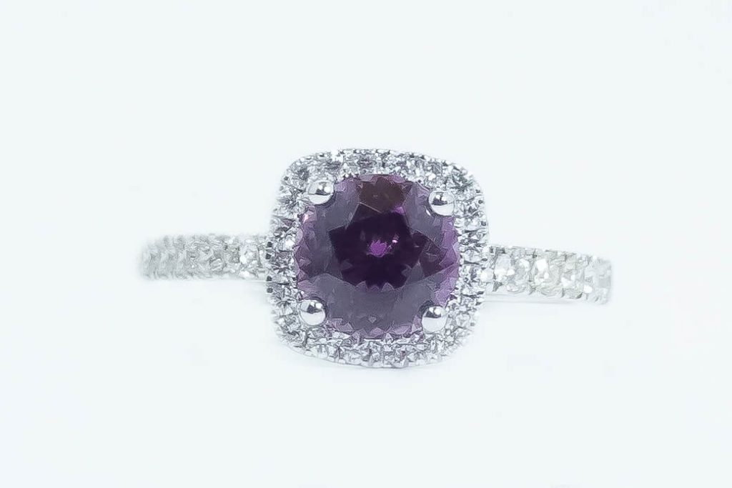 14k White Gold Purple Garnet & Diamond Ring