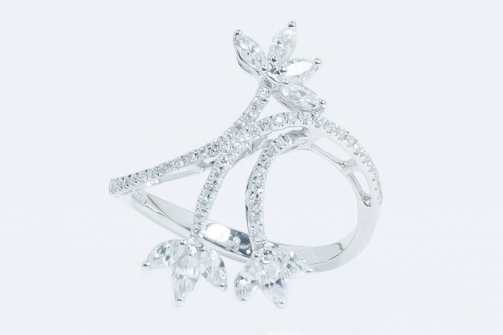 "14k White Gold Diamond ""Leaf"" Ring"