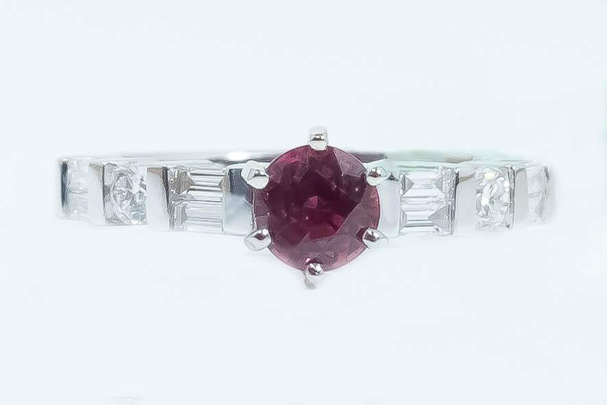 14k White Gold Spinel & Diamond Ring