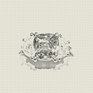 Custom diamond ring on grid background