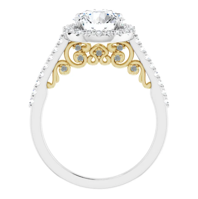 2 Carat 14K White and Yellow Gold Engagement Ring