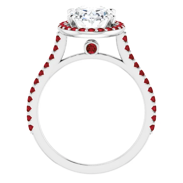3 Carat Diamond Ring with Ruby Accents