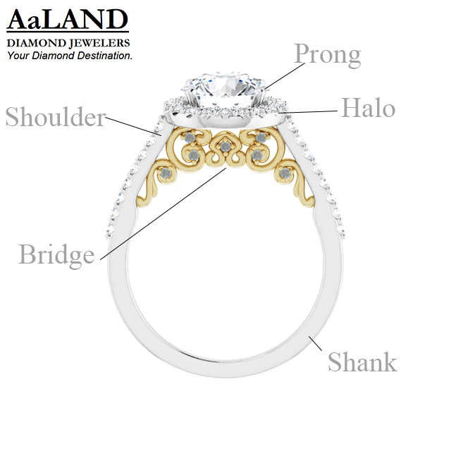 2-tone Cathedral Style Engagement Ring